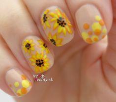Sunflower, nail art, Nail design
