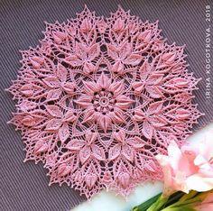 Pink lace doily Decorative crochet tablecloth with heart Lace Doilies, Crochet Doilies, Crochet Flowers, Crochet Lace, Free Crochet, Doily Rug, Thread Crochet, Crochet Crafts, Crochet Stitches
