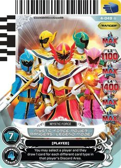 Mystic Force Power Rangers Trading Card