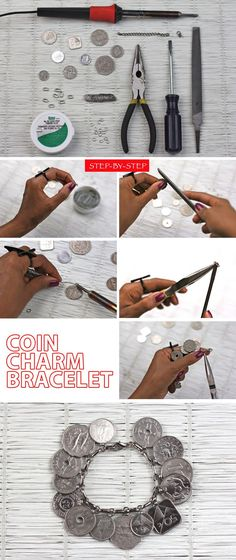 Coin Charm Bracelet - Bead&Cord------Soldering loops on coins instead of drilling holes in them. Could probably use JB Weld instead of a solder iron even.