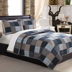 Pine Canopy Angelina Blue Patchwork 3-piece Quilt Set (Full/Queen Size)