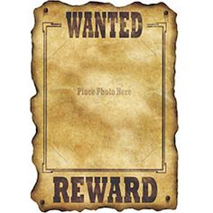 Western Wanted Sign   43cm  Most Wanted Poster Templates