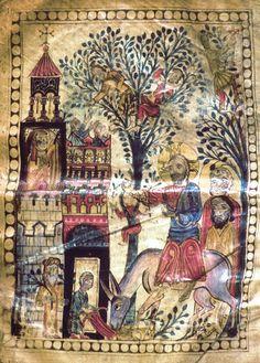 MINIATURES - Erevan, Matenadaran, MS 6288, Haghbat Gospel, Monastery of Horomos, 1211, artist Markaré, Entry into Jerusalem. Photo: Ara Güler