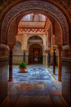 Moorish arches in the Alcazar, Seville, Spain.