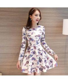 Floral printed long sleeved mini dress