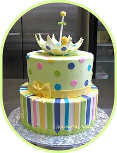 Gender Neutral Baby Shower Cake this cake is so darn cute. Torta Baby Shower, Idee Baby Shower, Shower Bebe, Gorgeous Cakes, Pretty Cakes, Cute Cakes, Amazing Cakes, Take The Cake, Love Cake