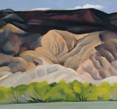 "Back of Marie's No. 4, 1931  Georgia O'Keeffe (American, 1887-1986)  Oil on canvas  40.6 x 76.2  okeeffemuseum.org  New Mexico, nicknamed the ""Land of Enchantment"", is made up of desert, arid plains, and pinon-juniper woodlands.  It is one of the eight ""Mountain States"" that make up America's vast Midwest.    ""All the earth colours of the painter's palette are out there in the many miles of badlands...""  									- Georgia O'Keeffe"