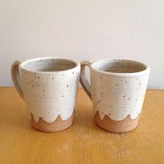 Pair of Extra Large Cloud Ceramic Mugs white coffee cup scallop design, giant wheel thrown coffee mug, stoneware ceramic speckled pottery
