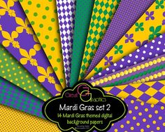 Mardi Gras Digital Backgrounds Set 2 Mardi Gras by GreatGraphics, $6.00