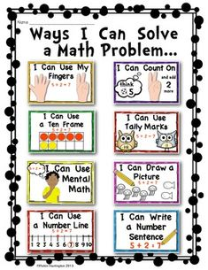 Solving Math Problems {Strategy Posters for Addition} Common Core - Kindergarten Organization 2020 Math Stations, Math Centers, Work Stations, Center Rotations, Science Centers, Fun Math, Math Activities, Math Math, Math Games
