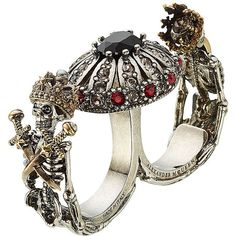 Alexander McQueen Embellished Double Skull Ring ($395) ❤ liked on Polyvore featuring jewelry, rings, multicolored, goth jewelry, gothic skull rings, druzy jewelry, tri color ring and gothic rings