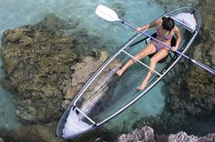 These canoes seat two (425 lb capacity) and possess inflatable chambers for storage and stability purposes. The canoe hull is composed of hi-tech clear polymer, which is nearly indestructible. The paddles are collapsible, which means that they can be split into two in order to save space when unused. $1350