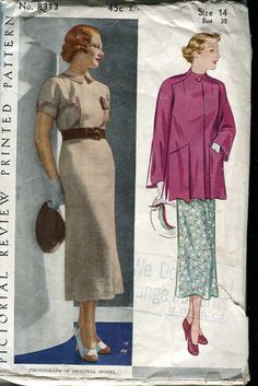 Pictorial Review 8313 Vintage 30s Dress and Jacket by bellaloona
