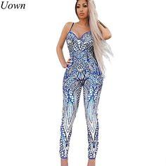 1cf380ebd0a Fashion Sexy Print Romper Bodysuit V-Neck Sleeveless Spaghetti Strap Summer  Clubwear Rompers Womens Jumpsuit