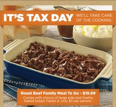 BOB EVANS $$ Reminder: Coupon for $4/$20 Carry Out Purchase – Expires TODAY (4/19)!