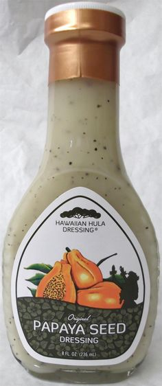 Ingredients: Canola oil, vinegar, Hawaiian cane sugar, water, fresh onions, Hawaiian papaya seeds, salt, garlic powder, spices, xanthan gum. 8 fl oz