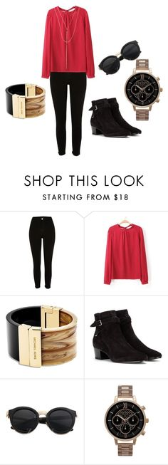 """red blouse"" by olia7805 on Polyvore featuring River Island, Michael Kors, Yves Saint Laurent, Olivia Burton and Lana"