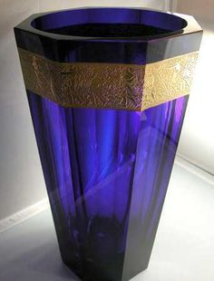 Moser Rich Cobalt Blue 13 5 8 Tall Vase Very RARE Mint Condition   eBay