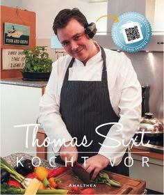 """In diesem Kochbuch bringt er diese Besonderheiten in einem Buch zusammen und liefert mit seinem Rezeptwerk """"Thomas Sixt kocht vor"""" ein Kochbuch, das neben einer Vielzahl an Rezepten in unterschiedlichen Kategorien auch zu jedem Rezept nicht nur ein schönes Foto liefert, sondern auch ein eigenes Video. Mit der Headcam lädt er die Leser ein aus seiner Perspektive die Rezepte mit- und nachzukochen und beweist damit wie schnell leckere Gerichte gezaubert werden können. Fish And Chips, Books, Delicious Dishes, Perspective Photography, Libros, Book, Book Illustrations, Libri"""