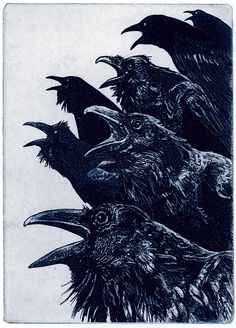 INQUISITION Raven bird crow Series Hand printed by RAVENSTAMPS