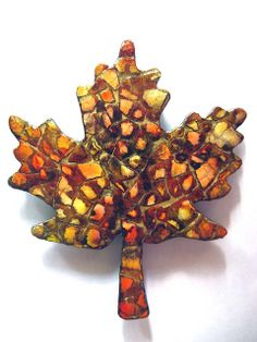 Eggshell Mosaic Maple Leaf Sanded - After I stained and sealed my leaves with a coat or two of Modge Podge I decided a couple of the leaves were too dark. So I sanded them pretty vigorously to re-expose some uncoated eggshell. I added some lighter color of alcohol ink, then added my 4 coats of sealer. I like the sanded contrast. With these colors it reminds me of vintage tortoise-shell jewelry. - by dobie 256 - #Eggshell #Mosaic #Crafts - pb†å Mosaic Crafts, Mosaic Art, Eggshell Mosaic, Crafts To Make, Arts And Crafts, Egg Crafts, Autumn Crafts, Alcohol Ink Art, Egg Art