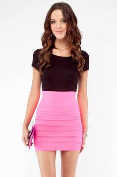 Sassy Skirt in Neon Pink $29 at www.tobi.com