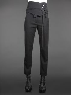 Ann DeMeulemeester a/w 11/12 __ Ankle Trousers with High Adjustable Waistbelt