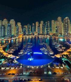 UAE, Dubai Marina at night