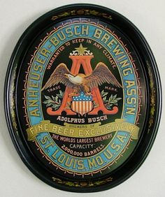 Vintage - Anheuser-Busch Brewery Association of St Louis - Missouri - USA - ''Brewers of Fine Beer Exclusively'' - Tray - 1980