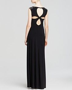 Laundry by Shelli Segal Gown - Studded Slit Shoulder