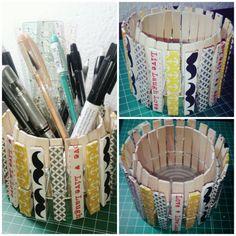 Portallapis amb pinces d'estendre la roba/Pencil pot made with clothepins | Enrenou creatiu