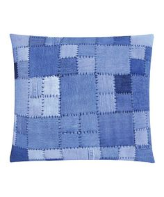 Take a look at this Light Blue Patchwork Denim Pillow by Karma Living on #zulily today!