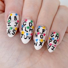 Stranger Things nail art by Talonted Lex. If you haven't seen Stranger Things where have you been? Millie Bobby Brown and Winona Ryder are incredible! Stranger Things Season 3, Stranger Things Netflix, Trendy Nails, Cute Nails, Ongles Funky, Just In Case, Just For You, Best Acrylic Nails, Winter Nail Art