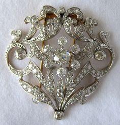 Edwardian Platinum Diamond Brooch   eBay