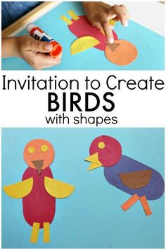 Learn about shapes and making new things with shapes as you create bird art with preschoolers and kindergarteners. Terrific math activity for your preschool bird theme Bird Crafts Preschool, Preschool Art Projects, Preschool Themes, Projects For Kids, Crafts For Kids, Spring Preschool Theme, Spring Theme, Preschool Printables, Winter Theme