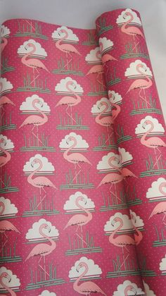 Very cool vintage Art Deco pink flamingo wrapping paper, drawer liners. Total of 4 pieces that measures : by Could be used for decoupage, cover boxes, furniture, backing in shelves and more.