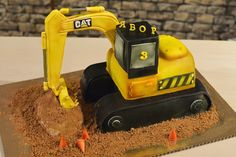 Digger Cake, Digger Party, Dad Birthday, Birthday Cake, Birthday Parties, Excavator Cake, Wedding Cake Toppers, Wedding Cakes, Construction Theme Party