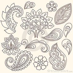Henna Mehndi Flowers And Paisley Vector Stock Image - Image: 13174221