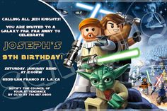 Star Wars Lego Birthday Invitation 4x6/ 5x7 Digital file - Star wars invitations Printables. $5.50, via Etsy.