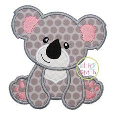 "Koala Bear Applique Design For Machine Embroidery (""Hello Heartache"" Font is… Baby Applique, Elephant Applique, Machine Embroidery Applique, Applique Quilts, Embroidery Monogram, Embroidery Thread, Applique Templates, Applique Patterns, Applique Designs"