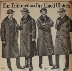 Trench coats became fashionable in the early 1900's because of their use in WWI. The trench coats featured in the image above are variations off of the original design that the soldiers wore in the trenches.