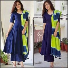 Amazing Blue and Green Dupatta Semi Stitched Plazzo Suit (Blue) - Palazzo Suits - Suits and Dress material - Womenswear Kurta Designs Women, Salwar Designs, Blouse Designs, Latest Kurti Designs, Blouse Patterns, Ethnic Fashion, Indian Fashion, Indian Dresses, Indian Outfits
