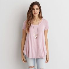 AEO Soft & Sexy Flowy T-Shirt ($15) ❤ liked on Polyvore featuring tops, t-shirts, pink, scoopneck top, pink top, sexy pink tops, american eagle outfitters t shirts and pink t shirt