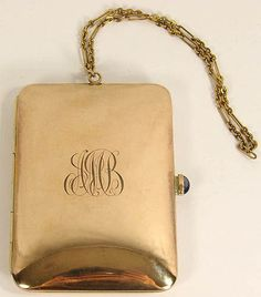 Vintage 1920s Gold Plated Minaudiere Compact Purse