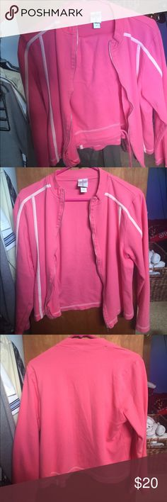 Silver wear Workout set Very cute pink w/ pinstripe work out set! My friend bought this set, wore once then gave to me because she never wore them! I never wore either so I am trying to sell!  make an offer I'm trying to get rid of! Large zip up and medium capris☺️ silver wear Other