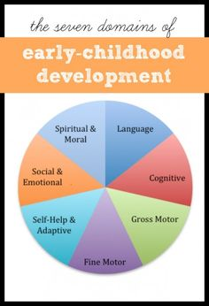 The Seven Domains of Early Childhood Development with activities to promote each domain from I Can Teach My Child