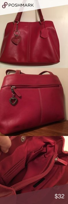 Red leather shoulder bag 12.5x4x9 apostrophe red shoulder bag, has two separate compartments, clean, looks new Apostrophe Bags Shoulder Bags
