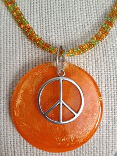 Peace Sign Necklace with Glass Pendant with by BeachDaisyJewelry, $14.00