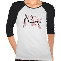 Stylish Sakura Branch • Ladies 3/4 Sleeve Raglan Tee Shirt