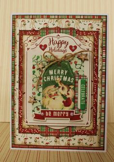 This is a card I made for Authentique with the super pretty Retro Christmas collection.